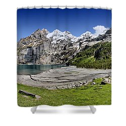 Oeschinen Lake Shower Curtain by Carsten Reisinger