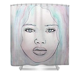 Shower Curtain featuring the mixed media Of Colour And Beauty - Blue by Malinda Prudhomme