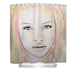 Shower Curtain featuring the mixed media Of Colour And Beauty - Pink by Malinda Prudhomme
