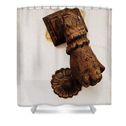 Off It's Knocker Shower Curtain by Lainie Wrightson