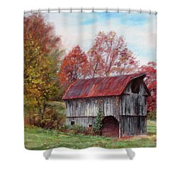 Off The Beaten Track-old Barn With Red Roof Shower Curtain