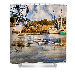 Off The Starboard Bow Shower Curtain by Debra and Dave Vanderlaan