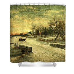 Off To Grandmas - Christmas Morning Shower Curtain