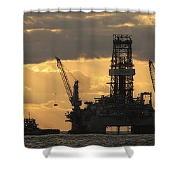 Offshore Rig At Dawn Shower Curtain