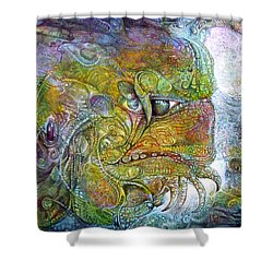 Shower Curtain featuring the painting Offspring Of Tiamat - The Fomorii Union by Otto Rapp