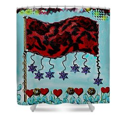 Oh Happy Days Flag Shower Curtain by Pepita Selles