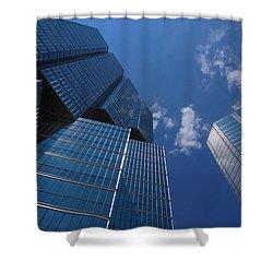 Oh So Blue - Downtown Toronto Skyscrapers Shower Curtain by Georgia Mizuleva