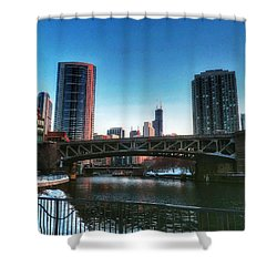 Ohio Street Bridge Over Chicago River Shower Curtain