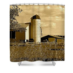 Ohio Farm In Sepia Shower Curtain by Frozen in Time Fine Art Photography