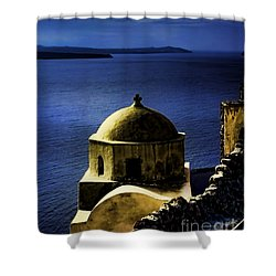 Oia Greece Shower Curtain by Tom Prendergast