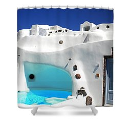 Oia Santorini  With Direct View To The Oceon Greece Shower Curtain