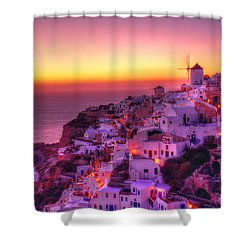 Oia Sunset Shower Curtain by Midori Chan