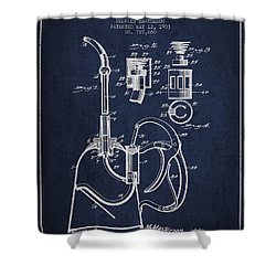 Oil Can Patent From 1903 - Navy Blue Shower Curtain by Aged Pixel