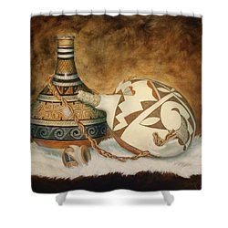Oil Painting - Indian Pots Shower Curtain