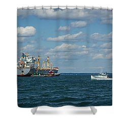 Shower Curtain featuring the photograph Oil Tanker And Lobster Boat by Jane Luxton
