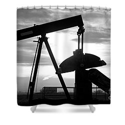 Oil Well Pump Jack Black And White Shower Curtain by James BO  Insogna