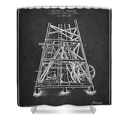 Oil Well Rig Patent From 1893 - Dark Shower Curtain by Aged Pixel
