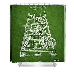 Oil Well Rig Patent From 1893 - Green Shower Curtain by Aged Pixel