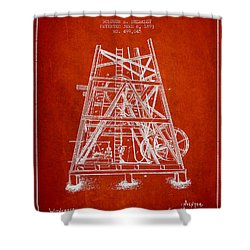 Oil Well Rig Patent From 1893 - Red Shower Curtain by Aged Pixel