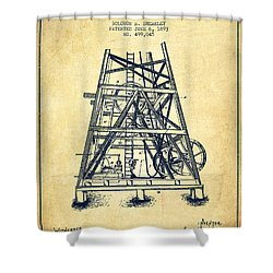 Oil Well Rig Patent From 1893 - Vintage Shower Curtain by Aged Pixel