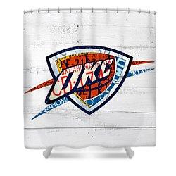 Okc Thunder Basketball Team Retro Logo Vintage Recycled Oklahoma License  Plate Art Shower Curtain