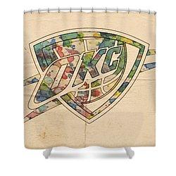 Okc Thunder Logo Art Shower Curtain by Florian Rodarte