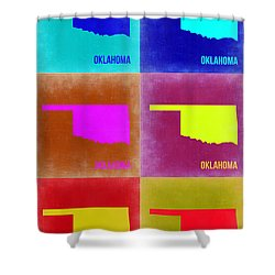 Oklahoma Pop Art Map 2 Shower Curtain by Naxart Studio