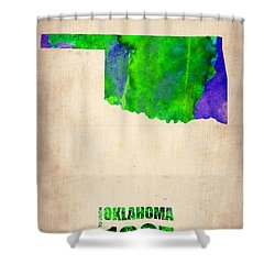 Oklahoma Watercolor Map Shower Curtain by Naxart Studio