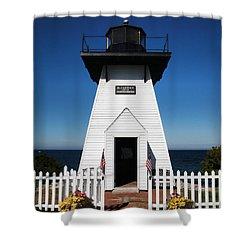 Shower Curtain featuring the photograph Olcott Ny Lighthouse - Replica by John Freidenberg