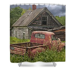 Old Abandoned Homestead And Truck Shower Curtain by Randall Nyhof