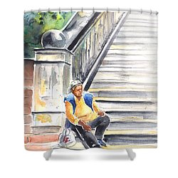 Old And Lonely In Prague 02 Shower Curtain by Miki De Goodaboom
