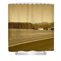Old Barn And Farm Field In Sepia Shower Curtain by Amazing Photographs AKA Christian Wilson