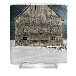 Old Barn In A Snow Storm Shower Curtain by Edward Fielding