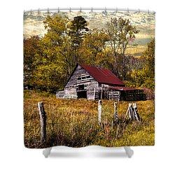 Old Barn In Autumn Shower Curtain by Debra and Dave Vanderlaan