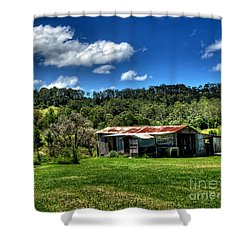 Old Barn In Lush Green Countryside Shower Curtain by Kaye Menner