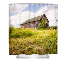 Shower Curtain featuring the photograph Old Barn In Ontario County - New York State by Gary Heller