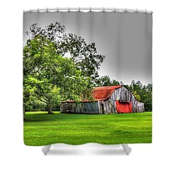 Shower Curtain featuring the photograph Old Barn With Red Door by Lanita Williams