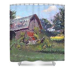 Old Barns  Shower Curtain by Ylli Haruni