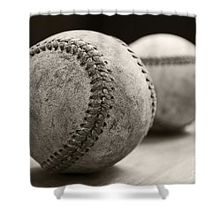 Old Baseballs Shower Curtain by Edward Fielding