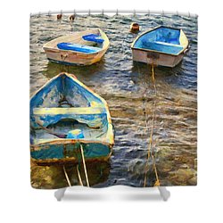 Shower Curtain featuring the photograph Old Bermuda Rowboats by Verena Matthew
