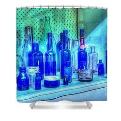 Old Blue Bottles Shower Curtain by Kaye Menner