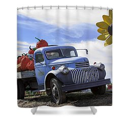 Shower Curtain featuring the photograph Old Blue Farm Truck  by Patrice Zinck
