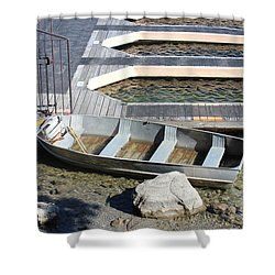 Old Boat And Dock Shower Curtain