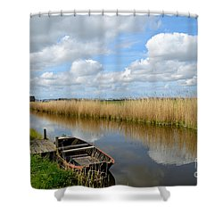 Old Boat In A Canal In Holland Shower Curtain