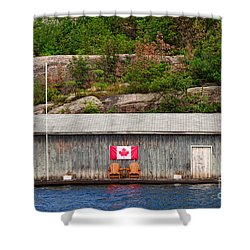 Old Boathouse With Two Muskoka Chairs Shower Curtain by Les Palenik