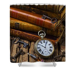 Old Books And Pocketwatch Shower Curtain by Garry Gay