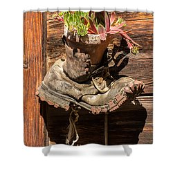 Old Boot Potted Plant - Swiss Alps Shower Curtain