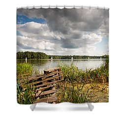 Old Bridge And Boats At The Lake Shower Curtain by Arletta Cwalina