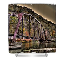 Old Bridge Over Lake Shower Curtain by Jonny D