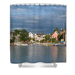 Old Bridge Over The Sea, Le Bono, Gulf Shower Curtain by Panoramic Images